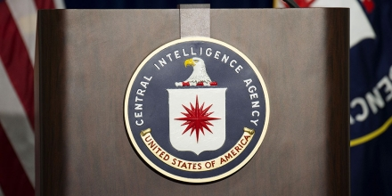 The lectern stands empty as reporters await the arrival of Director of Central Intelligence Agency John Brennan for a press conference at CIA headquarters in Langley, Virginia, December 11, 2014.   The head of the Central Intelligence Agency acknowledged Thursday some agency interrogators used