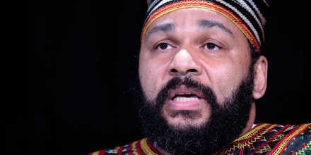 Controversial French comic Dieudonne M'Bala M'Bala speaks to the media during a press conference in his
