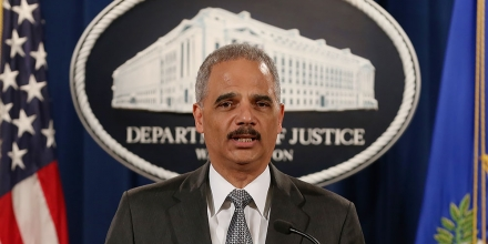 WASHINGTON, DC - DECEMBER 03:  U.S. Attorney General Eric Holder speaks at the Justice Department December 3, 2014 in Washington, DC. Holder spoke about the recent decision by a Staten Island grand jury not to indict a police officer in the chokehold death of Eric Garner.  (Photo by Mark Wilson/Getty Images)