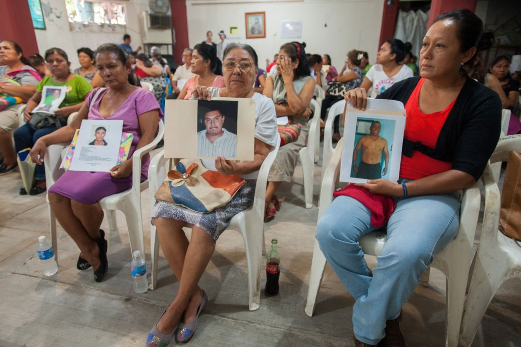 Forty-three male students from the Raul Burgos Rural Teachers College in Ayotzinapa, Guerrero were disappeared on September 26, 2014 at the hands of local police working in conjunction with drug traffickers. In an unprecedented event, not directly related to the 43 missing students, at St. Gerard's parish hall in Iguala, Guerrero family members have come to speak of and register cases of disappearances of their loved ones at the behest of a coalition of a local defense militia, non-governmental organizations and the Catholic Church.