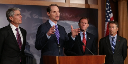 WASHINGTON, DC - SEPTEMBER 25: U.S. Sen. Ron Wyden (D-OR) (2nd-L), speaks while U.S. Sen. Mark Udall (D-CO) (L), U.S. Sen. Richard Blumenthal (D-CT) (2ndR), and U.S. Sen. Rand Paul (R-KY) listen during a news conference on Capitol Hill September 25, 2013 in Washington, DC. The bipartisan group of Senators announced new legislation for comprehensive surveillance reform.  (Photo by Mark Wilson/Getty Images)