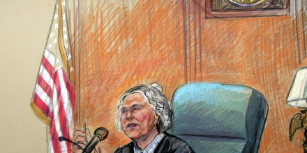 Artist rendering of U.S. District Judge Leonie Brinkema presiding over the Zacarias Moussaoui trial, Friday, April 22, 2005 in federal court in Alexandria, Va. Moussaoui pleaded guilty Friday to helping al-Qaida carry out the Sept. 11 hijackings and said he understood he could be put to death for his role in the deadliest terror attack in American history. (AP Photo/Dana Verkouteren)