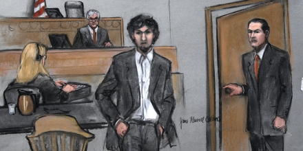 In this courtroom sketch, Boston Marathon bomber Dzhokhar Tsarnaev arrives in the courtroom at the Moakley Federal court house in the penalty phase of his trial in Boston, Friday, May 15, 2015. The federal jury ruled that the 21-year-old Tsarnaev should be sentenced to death for his role in the deadly 2013 attack. (Jane Flavell Collins via AP)