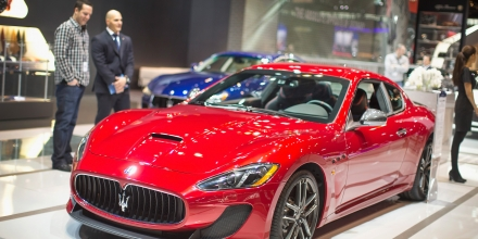 CHICAGO, IL - FEBRUARY 13:  Maserati shows of the GranTurismo MC at the Chicago Auto Show during the media preview on February 13, 2015 in Chicago, Illinois. The car has a base price of $165,267. The auto show, which has the highest attendance in the nation, will open to the public February 14-22.  (Photo by Scott Olson/Getty Images)