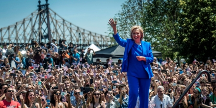 NEW YORK, NEW YORK - JUNE 13:  Former Secretary of State Hillary Clinton launches her campaign officially at a rally at Four Freedoms Park on Roosevelt Island, New York City, Saturday, June 13, 2015. (Photo by Melina Mara/The Washington Post via Getty Images)