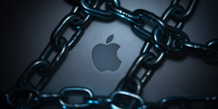 Illustrative photographs of locks, chains, iPhones, and Apple computers to illustrate the theme of