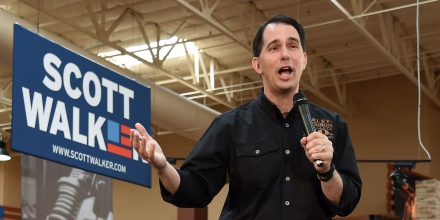 LAS VEGAS, NV - JULY 14:  U.S. presidential candidate and Wisconsin Gov. Scott Walker speaks at Red Rock Harley-Davidson on July 14, 2015 in Las Vegas, Nevada. Walker launched his campaign on U.S. presidential candidate and Wisconsin Gov. Scott Walker joining 14 other Republican candidates for the 2016 presidential race.  (Photo by Ethan Miller/Getty Images)