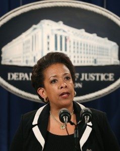 WASHINGTON, DC - JULY 22:  Attorney General Loretta Lynch speaks to the media during a news conference at the Justice Department July 22, 2015 in Washington, DC. Lynch announced that a grand jury has indicted Dylann Roof on 33 federal counts for killing nine people during a Bible study at a historic black church in Charleston, South Carolina last month. (Photo by Mark Wilson/Getty Images)