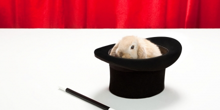 Rabbit in top hat with magic wand (Getty)