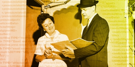 Woman listening to salesman in doorway