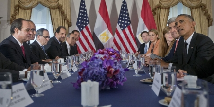 FILE - In this Thursday, Sept. 25, 2014 file photo, President Barack Obama meets with Egyptian President Abdel Fattah el-Sisi, left, in New York. Obama on Tuesday, March 31, 2015 released military aid to Egypt that was suspended after the 2013 overthrow of the government, in an effort to boost Cairo's ability to combat the extremist threat in the region. (AP Photo/Pablo Martinez Monsivais, File)