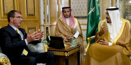 Image #: 38386459    U.S. Defense Secretary Ash Carter (L) meets with Saudi Arabia's King Salman bin Abdul Aziz (R) at Al-Salam Palace in Jeddah, Saudi Arabia, July 22, 2015. Carter flew into Saudi Arabia for meetings on Wednesday with King Salman and his security leadership to reassure the kingdom of America's support after Washington struck a nuclear deal with its arch-rival Iran. REUTERS/Carolyn Kaster/Pool /LANDOV