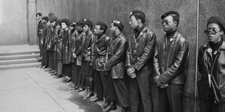 View of a line of Black Panther Party members as they demonstrate outside the New York City courthouse, New York, New York, April 11, 1969. (Photo by David Fenton/Getty Images)