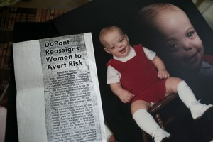 Photos of Bucky Bailey as a baby as well as article clippings that his mother Sue saved over the years sit on the table at their home in Bluemont, VA. Sue worked in Teflon while pregnant with Bucky, who was born with facial deformities.
