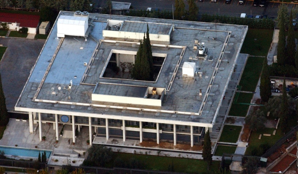 FILE - In this Dec. 6, 2002 an aerial file photo of the US embassy in Athens, Greece. Theodoros Pangalos a former foreign minister of Greece said on Tuesday, Oct. 29, 2013 the U.S. is not the only country eavesdropping on foreign diplomats: his country's secret services did that to U.S. ambassadors in Athens and Ankara in the 1990s. (AP Photo/Thanassis Stavrakis, File)