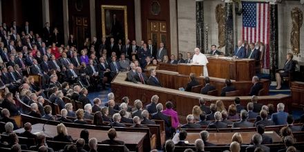 Pope Francis speaks to a joint meeting of Congress in the House Chamber at the U.S. Capitol in Washington, D.C., U.S., on Thursday, Sept. 24, 2015. Pope Francis, the first pontiff to address U.S. Congress, is preaching to a less-than-harmonious congregation as he faces a Congress riven by disputes over issues closest to his heart: income inequality, immigration and climate change. Photographer: Pete Marovich/Bloomberg via Getty Images