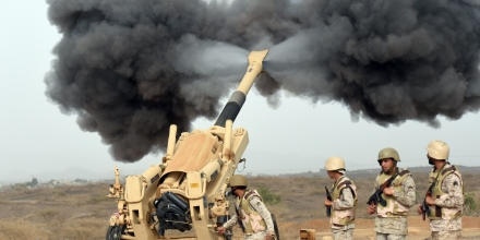 Saudi army artillery fire shells towards Yemen from a post close to the Saudi-Yemeni border, in southwestern Saudi Arabia, on April 13, 2015 . Saudi Arabia is leading a coalition of several Arab countries which since March 26 has carried out air strikes against the Shiite Huthis rebels, who overran the capital Sanaa in September and have expanded to other parts of Yemen. AFP PHOTO / FAYEZ NURELDINE        (Photo credit should read FAYEZ NURELDINE/AFP/Getty Images)