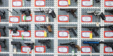 "Guns are on display at Roseburg Gun Shop in Roseburg, Oregon, on October 2, 2015. Ten people were confirmed dead after a lone gunman who used protective clothing and multiple weapons, shot at students on the Umpqua Community College campus. US President Barack Obama warned Friday that failure to act on gun control was a ""political decision"" and vowed to keep pushing for reform after America's latest mass shooting. ""Our inaction is a political decision that we are making,"" Obama said, urging voters to help drive through gun safety laws that have been blocked in the Republican-controlled Congress. AFP PHOTO/CENGIZ YAR, JR. (Photo credit should read CENGIZ YAR, JR./AFP/Getty Images)"