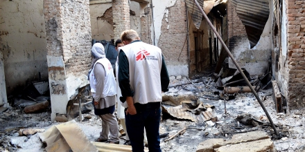 (151017) -- KABUL, Oct. 17, 2015 (Xinhua) -- Staff members of the Medecin Sans Frontieres (MSF) hospital investigate the building destroyed in a U.S. airstrike in Kunduz city, capital of northern Kunduz province of Afghanistan, Oct. 17, 2015. With the United States not releasing any findings of its investigation almost two weeks after the deadly U.S. airstrike on a Afghan hospital, the international medical aid agency Doctors Without Borders had launched a global petition to urge the White House to consent to an independent investigation. (Xinhua/Ajmal) (Newscom TagID: xnaphotos567688.jpg) [Photo via Newscom]