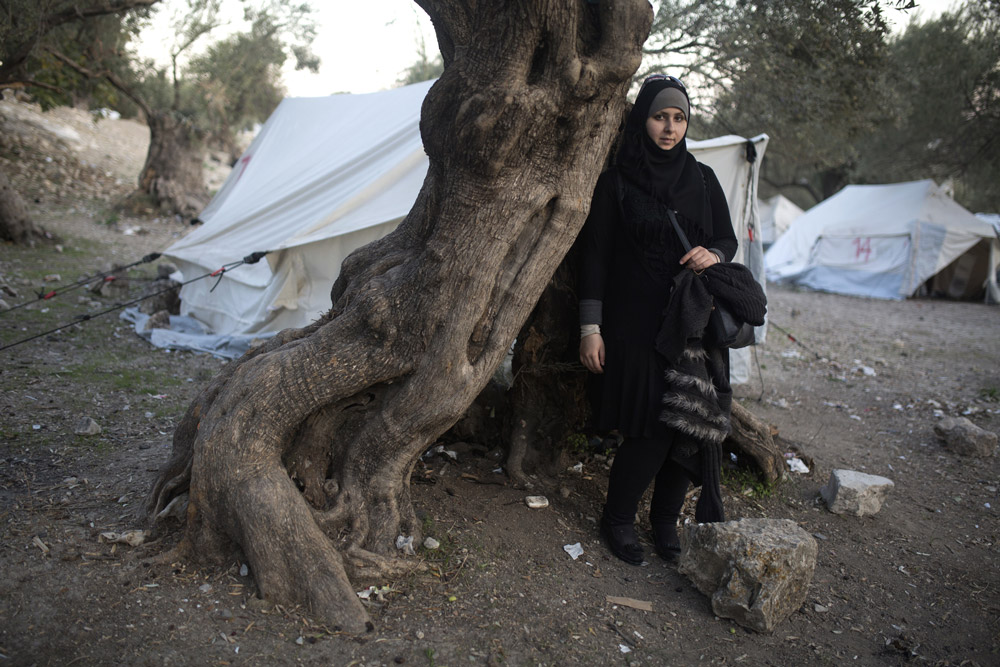 Syrian refugee Sima Farauate, 27 stands by an old olive tree at the Kara Tepe transition camp located on the outskirts of the city of Mytilini on the Greek Island of Lesbos on November 19,2015. She fled Syria with her husband and they were smuggled by boat from Turkey across the Aegean Sea to Lesbos.(Photo by Heidi Levine for The Intercept).