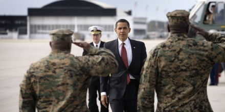 CHERRY POINT - FEBRUARY 27: US President Barack Obama boards Air Force One February 27, 2009 at Cherry Point Marine Corps Air Station in North Carolina. Obama was in the area for a visit to Camp Lejeune Marine Corps Base. (Photo by Charles Ommanney/Getty Images)