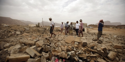 Image #: 21062499    Tribesmen stand on the rubble of a building destroyed by a U.S. drone air strike, that targeted suspected al Qaeda militants in Azan of the southeastern Yemeni province of Shabwa February 3, 2013. Abdulrahman al-Awlaki, the son of slain U.S.-born cleric Anwar al-Awlaki, and six al Qaeda militants, were killed in a strike on this building on October 14, 2011, tribal elders said. U.S. drones have launched almost daily raids on suspected al Qaeda militants in Yemen over the past two weeks, and air strikes have aggravated discontent among Yemenis, who say the strikes pose a threat to civilians. Abdulrahman al-Awlaki was 16 years old and also a U.S. citizen. His father had been killed in a drone two weeks earlier, in September 2011.        REUTERS/Khaled Abdullah (YEMEN - Tags: POLITICS CIVIL UNREST MILITARY SOCIETY)       REUTERS /Khaled Abdullah /LANDOV