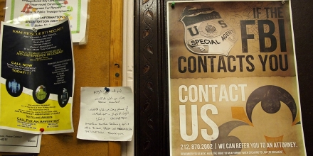 Flyers are posted on a wall outside of the prayer room at the Islamic Culture Center in Newark, N.J., Wednesday, Feb. 15, 2012. Newark's mayor is promising an investigation after learning that the New York Police Department spied on his city and built secret files on mosques and Muslim businesses. For months in mid-2007, plainclothes NYPD officers fanned out across Newark, taking pictures and eavesdropping on conversations in Muslim communities. The result was a 60-page guide to the city's Muslims. It was obtained by The Associated Press. (AP Photo/Charles Dharapak)