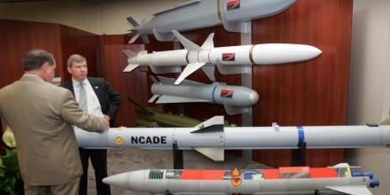 A display of guided missle mock-ups by the Raytheon Company are displayed at the Air Force Association (AFA) 2007 Air and Space Conference and Technology Exposition and Global Air Chiefs Conference 25 September, 2007 in Washington, DC.    AFP PHOTO / TIM SLOAN (Photo credit should read TIM SLOAN/AFP/Getty Images)