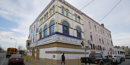 This Monday, Dec. 7, 2015 photo shows the Al Aqsa Islamic Society mosque in Philadelphia. The caretaker at the mosque said he found a severed pig's head on the sidewalk Monday morning. Surveillance video at the site captured a red pickup truck that drove twice past the mosque just before 11 p.m. Sunday. On its second pass, someone threw an item from the passenger window, the video shows. (Michael Bryant/The Philadelphia Inquirer via AP) PHIX OUT; TV OUT; MAGS OUT; NEWARK OUT; MANDATORY CREDIT: MICHAEL BRYANT/THE PHILADELPHIA INQUIRER