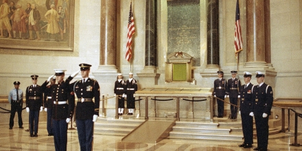 Members of a joint military honor guard stand watch over the Bill of Rights at the National Archives Rotunda in Washington, Dec. 15, 1991. Sunday is the 200th anniversary of the ratification of the Bill of Rights, the first 10 amendments to the Constitution. The Bill of Rights, along with the Declaration of Independence and Constitution, are on permanent display in the rotunda. (AP Photo/Dennis Cook)