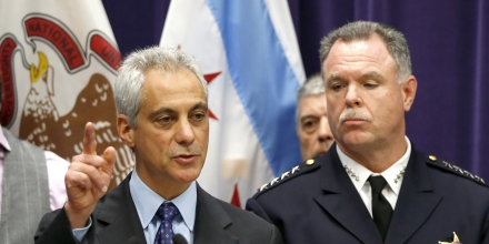 Chicago Mayor Rahm Emanuel, left, and Police Superintendent Garry McCarthy speak at a news conference, Tuesday, Nov. 24, 2015, in Chicago, announcing first-degree murder charges against police officer Jason Van Dyke in the Oct. 20, 2014, death of Laquan McDonald. The city then released the dash-cam video of the shooting to media outlets after the news conference. (AP Photo/Charles Rex Arbogast)