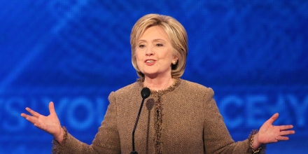 MANCHESTER, NH - DECEMBER 19: Democratic president candidate Hillary Clinton speaks at the debate at Saint  Anselm College December 19, 2015 in Manchester, New Hampshire. This is the third Democratic debate featuring Democratic candidates Hillary Clinton, Bernie Sanders and Martin O'Malley. (Photo by Andrew Burton/Getty Images)