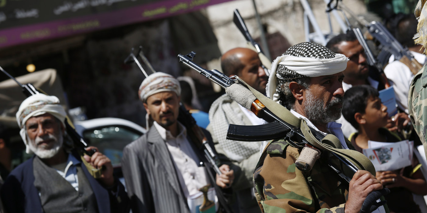 Shiite fighters, known as Houthis, hold their weapons as they attend a tribal gathering showing support to the Houthi movement in Sanaa, Yemen, Thursday, Oct. 22, 2015. (AP Photo/Hani Mohammed)
