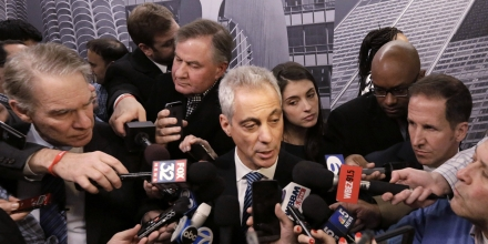 "Chicago Mayor Rahm Emanuel speaks to the media, Thursday, Dec. 3, 2015, in Chicago. Faced with growing calls for federal intervention after a white officer fatally shot a black teen, Mayor Rahm Emanuel said Thursday the city would welcome a Justice Department investigation of ""systemic issues"" in the Chicago police department. (AP Photo/M. Spencer Green)"
