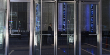 A revolving door at the Bear Stearns headquarters in New York outside the offices of global investment bank, securities trading and brokerage firm Bear, Stearns & Co. on Madison Ave on March 17, 2008 in New York. JP Morgan Chase bought Bear, Stearns & Co, for 2 USD a share, with help of 30,000 billion USD in financing of Bear, Stearns assets from the US Federal Reserve.AFP PHOTO/DON EMMERT (Photo credit should read DON EMMERT/AFP/Getty Images)