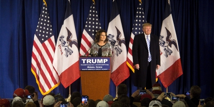 Sarah Palin, former governor of Alaska, left, and Donald Trump, president and chief executive of Trump Organization Inc. and 2016 Republican presidential candidate, listen to a question from the audience during a campaign rally at the Hansen Agricultural Student Learning Center at Iowa State University in Ames, Iowa, U.S., on Tuesday, Jan. 19, 2016. Trump's campaign to win the Iowa caucuses in less than two weeks received a boost from a Tea Party favorite, Sarah Palin. Photographer: Cassi Alexandra/Bloomberg via Getty Images
