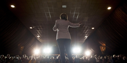 Hillary Clinton, former Secretary of State and 2016 Democratic presidential candidate, speaks during a campaign event in Davenport, Iowa, U.S., on Friday, Jan. 29, 2016. An old saying that politicians can campaign with poetry but must govern with prose has suddenly become fresh inspiration for Clinton as she looks to manage an enthusiasm gap with Bernie Sanders days before the Iowa caucuses. Photographer: Daniel Acker/Bloomberg via Getty Images