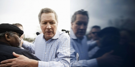 Republican presidential candidate, Ohio Gov. John Kasich meets with people outside a campaign stop, Friday, Feb. 12, 2016, in Orangeburg, S.C. (AP Photo/Matt Rourke)