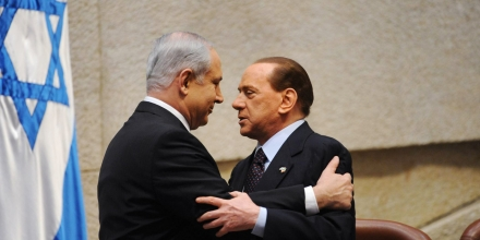 JERUSALEM, ISRAEL - FEBRUARY 3: (ISRAEL OUT) In this handout photo provided by the Israeli Government Press Office (GPO), Italian Prime Minister Silvio Berlusconi (R) greets Israeli Prime Minister Benjamin Netanyahu at the Knesset on February 3, 2010 in Jerusalem, Israel.