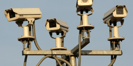 LONDON, ENGLAND - MARCH 18:  A general view of four CCTV surveillance cameras covering a car park near to the O2 Arena on March 18, 2009 in London. Government funding for CCTV began as recently as 1994 and it has recently been claimed that Britain possesses a quarter of all the world's CCTV cameras.  (Photo by Oli Scarff/Getty Images)