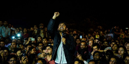 Indian student union leader Kanhaiya Kumar (C) addresses students and activists at Jawahar Lal Nehru University (JNU) in New Delhi on March 3, 2016. Indian student leader Kanhaiya Kumar walked out of prison on March 3, nearly three weeks after he was arrested on a controversial sedition charge that sparked major protests and a nationwide debate over free speech. / AFP / CHANDAN KHANNA (Photo credit should read CHANDAN KHANNA/AFP/Getty Images)