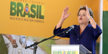 Brazilian President Dilma Rousseff gives a speech, in Anapolis, center-western Brazil, on May 22, 2014,  during the opening of the 855 km stretch of the North-South Railway (Ferrovia Norte-Sul, in Portuguese), between the cities of Anapolis (in Goias state) and Porto Nacional (in Tocantins state). PHOTO: ANDRE DUSEK/ESTADAO CONTEUDO (Agencia Estado via AP Images)
