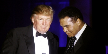 FILE - In this March 24, 2007, file photo, Donald Trump, left, accepts his Muhammad Ali award from Ali at Muhammad Ali's Celebrity Fight Night XIII in Phoenix, Ariz. Ali is criticizing Republican presidential front-runner Trump's proposal to ban Muslims from entering the United States, and calling on Muslims