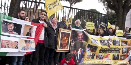 VIA SALARIA 267, ROMA, ITALY - 2016/02/25: Hundreds of people, including activists of Amnesty International and citizens have demonstrated peacefully in front of the Egyptian embassy to ask clarity and justice for the death of Guido Regeni, the young Italian researcher killed under mysterious circumstances in Egypt. (Photo by Emiliano Grillo/Pacific Press/LightRocket via Getty Images)