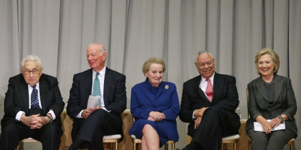 Generated by IJG JPEG LibraryWASHINGTON, DC - SEPTEMBER 03: Former secretaries of state (L-R) Henry Kissinger, James Baker, Madeleine Albright, Colin Powell and Hillary Clinton participate in the ceremonial groundbreaking of the future U.S. Diplomacy Center at the State Department's Harry S. Truman Building September 3, 2014 in Washington, DC. When completed, the Diplomacy Center will be a museum and education center that will 'demonstrate the ways in which diplomacy matters now and has mattered throughout American history.' (Photo by Chip Somodevilla/Getty Images)Generated by IJG JPEG Library