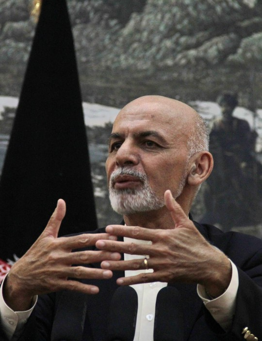 KABUL, AFGHANISTAN- OCTOBER 01: Afghan President Ashraf Ghani talks with Jornalists during a press conference at presidential palace in Kabul, Afghanistan on October 1, 2015. Ghani says that Kunduz was brought back under government control after a six-hour military assault on Taliban fighters holding the city. (Photo by Haroon Sabawoon/Anadolu Agency/Getty Images)