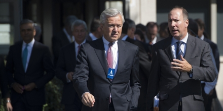 John Stumpf (L), Chairman, President, and CEO of Wells Fargo; and Rob Nichols, President and CEO of the Financial Services Forum, arrive for a meeting of the Financial Services Forum with US President Barack Obama at the White House in Washington, DC, October 2, 2013, on the second day of the government shutdown. AFP PHOTO / Saul LOEB        (Photo credit should read SAUL LOEB/AFP/Getty Images)