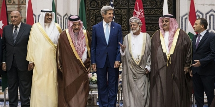 (From L to R):  Egyptian Foreign Minister Sameh Shoukry, Kuwaiti Foreign Minister Sabah Al-Khalid al-Sabah, Saudi Foreign Minister Prince Saud al-Faisal, US Secretary of State John Kerry, Omani Foreign Minister Yussef bin Alawi bin Abdullah, Bahraini Foreign Minister Sheikh Khaled bin Ahmed al-Khalifa and Lebanese Foreign Minister Gebran Bassil, stand together during a family photo with of the Gulf Cooperation Council and regional partners at King Abdulaziz International Airports Royal Terminal on September 11, 2014 in Jeddah, Saudi Arabia. Kerry and regional counterparts began talks today in Saudi Arabia on forming a coalition to support an American campaign against Islamic State jihadists in Syria and Iraq. AFP PHOTO/POOL/BRENDAN SMIALOWSKI        (Photo credit should read BRENDAN SMIALOWSKI/AFP/Getty Images)