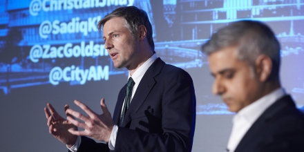 Conservative Party candidate Zac Goldsmith (L) and Labour party candidate Sadiq Khan take part in a Mayoral debate in central London on April 12, 2016The two candidates are vying to become the next mayor of London in the upcoming May 5 elections. / AFP / NIKLAS HALLE'N (Photo credit should read NIKLAS HALLE'N/AFP/Getty Images)