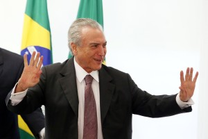 Brazil's interim President Michel Temer  during a meeting with unionists at the Planalto Palace, in Brasilia, Brazil, on May 16, 2016. Photo: Andre Dusek/Estadao Conteudo. (Agencia Estado via AP Images)